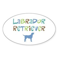 Labrador Retriever (color text) Oval Decal