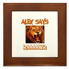Alex Says Raaawr (Lion) Framed Tile