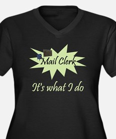 Mail Clerk Women's Plus Size V-Neck Dark T-Shirt