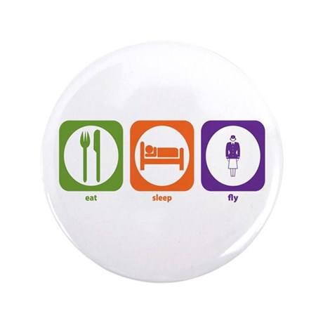 """Eat Sleep Fly 3.5"""" Button (100 pack)"""