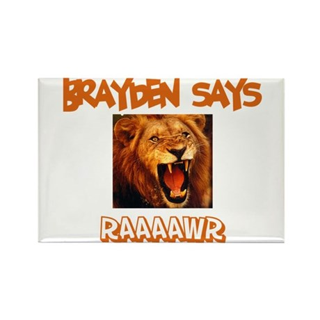 Brayden Says Raaawr (Lion) Rectangle Magnet (10 pa