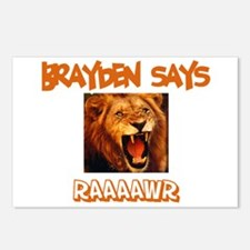 Brayden Says Raaawr (Lion) Postcards (Package of 8