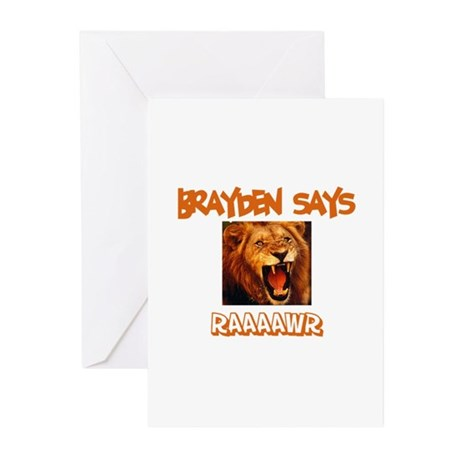 Brayden Says Raaawr (Lion) Greeting Cards (Pk of 1