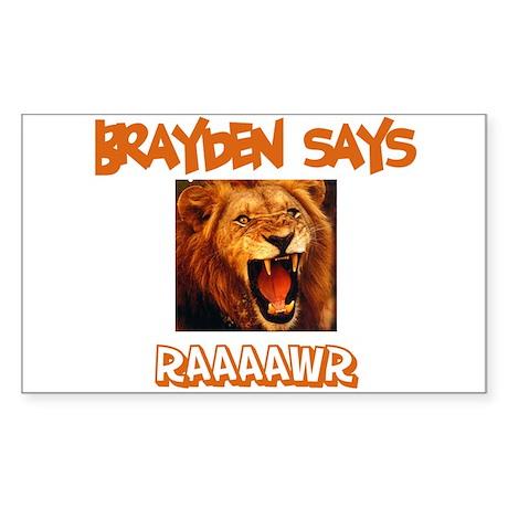 Brayden Says Raaawr (Lion) Rectangle Sticker