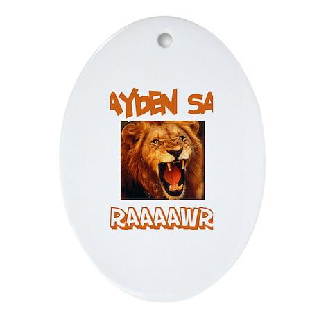 Brayden Says Raaawr (Lion) Oval Ornament
