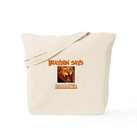 Brayden Says Raaawr (Lion) Tote Bag
