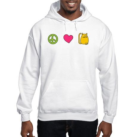 Peace Love Cats - Funny Cat Hooded Sweatshirt