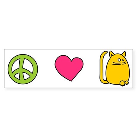 Peace Love Cats - Funny Cat Bumper Sticker