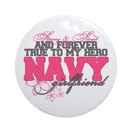 Strong&Sweet Navy Girlfriend Ornament (Round)