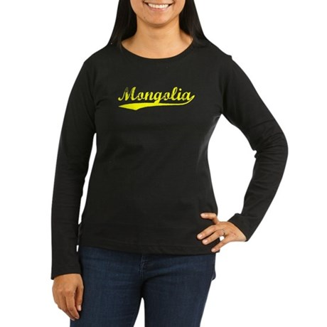 Vintage Mongolia (Gold) Women's Long Sleeve Dark T
