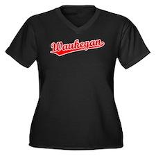 Retro Waukegan (Red) Women's Plus Size V-Neck Dark