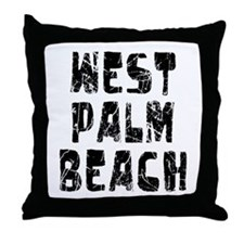West Palm Be.. Faded (Black) Throw Pillow