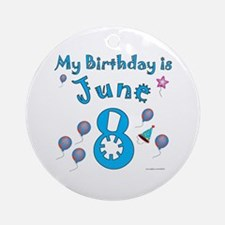 June 8th Birthday Ornament (Round)