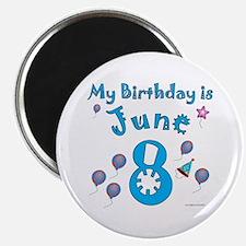 June 8th Birthday Magnet