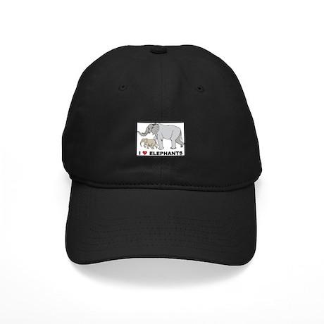 I Love Elephants Black Cap