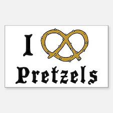 I Love Pretzels Rectangle Decal