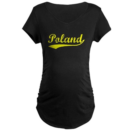 Vintage Poland (Gold) Maternity Dark T-Shirt
