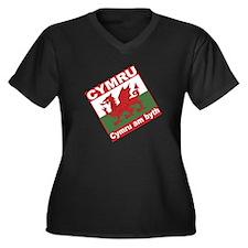 Cymru Women's +Size V-Neck Black T-Shirt