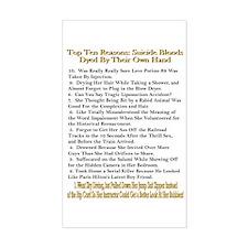 Top Ten Suicide Blond Reasons Sticker (Rectangular