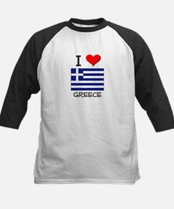 I Love Greece Kids Baseball Jersey