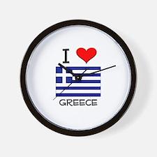 I Love Greece Wall Clock