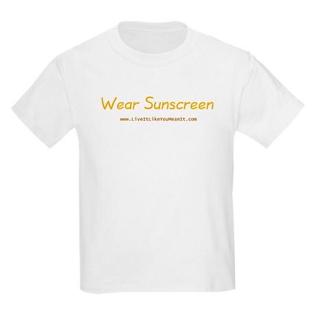 Wear sunscreen kids light t shirt wear sunscreen t shirt for Shirts with sunscreen in them