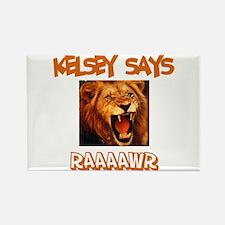 Kelsey Says Raaawr (Lion) Rectangle Magnet