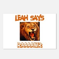 Leah Says Raaawr (Lion) Postcards (Package of 8)