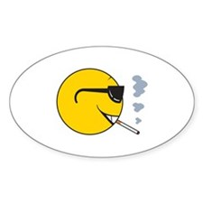 Smoking Cigarette Smiley Face Oval Decal