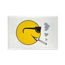 Smoking Cigarette Smiley Face Rectangle Magnet