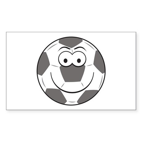 Soccer Ball Smiley Face Rectangle Sticker