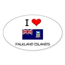 I Love Falkland Islands Oval Decal