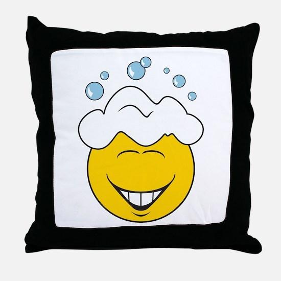 Bath Time Bubbles Smiley Face Throw Pillow