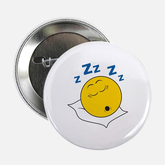 """Sleeping/Snoring Smiley Face 2.25"""" Button"""