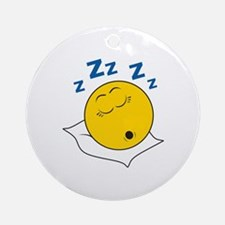 Sleeping/Snoring Smiley Face Ornament (Round)