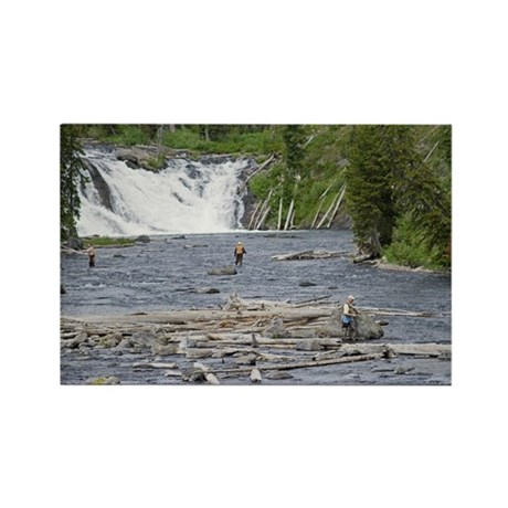 Fly fishing yellowstone rectangle magnet by buffaloworks for Yellowstone park fishing report