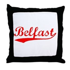 Vintage Belfast (Red) Throw Pillow