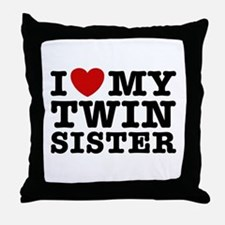 I Love My Twin Sister Throw Pillow