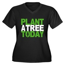 Plant a Tree Today Women's Plus Size V-Neck Dark T
