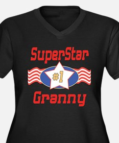 Superstar Granny Women's Plus Size V-Neck Dark T-S