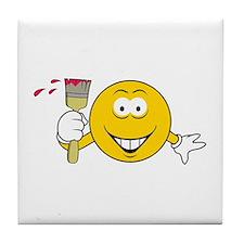 Painter Smiley Face Tile Coaster