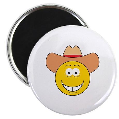 "Cowboy Smiley Face 2.25"" Magnet (10 pack)"