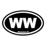 WW Wildwood, NJ Black Oval Sticker (50 pk)