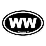 WW Wildwood, NJ Black Oval Sticker (10 pk)