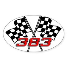 383 Checkered Flags Oval Decal
