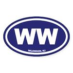 WW Wildwood, NJ Blue Oval Sticker (10 pk)