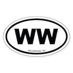 WW Wildwood, NJ Euro Oval Sticker (10 pk)
