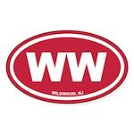 WW Wildwood, NJ Red Euro Oval Sticker (10 pk)