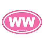 WW Wildwood, NJ Pink Euro Oval Sticker (10 pk)
