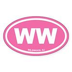 WW Wildwood, NJ Pink Euro Oval Sticker